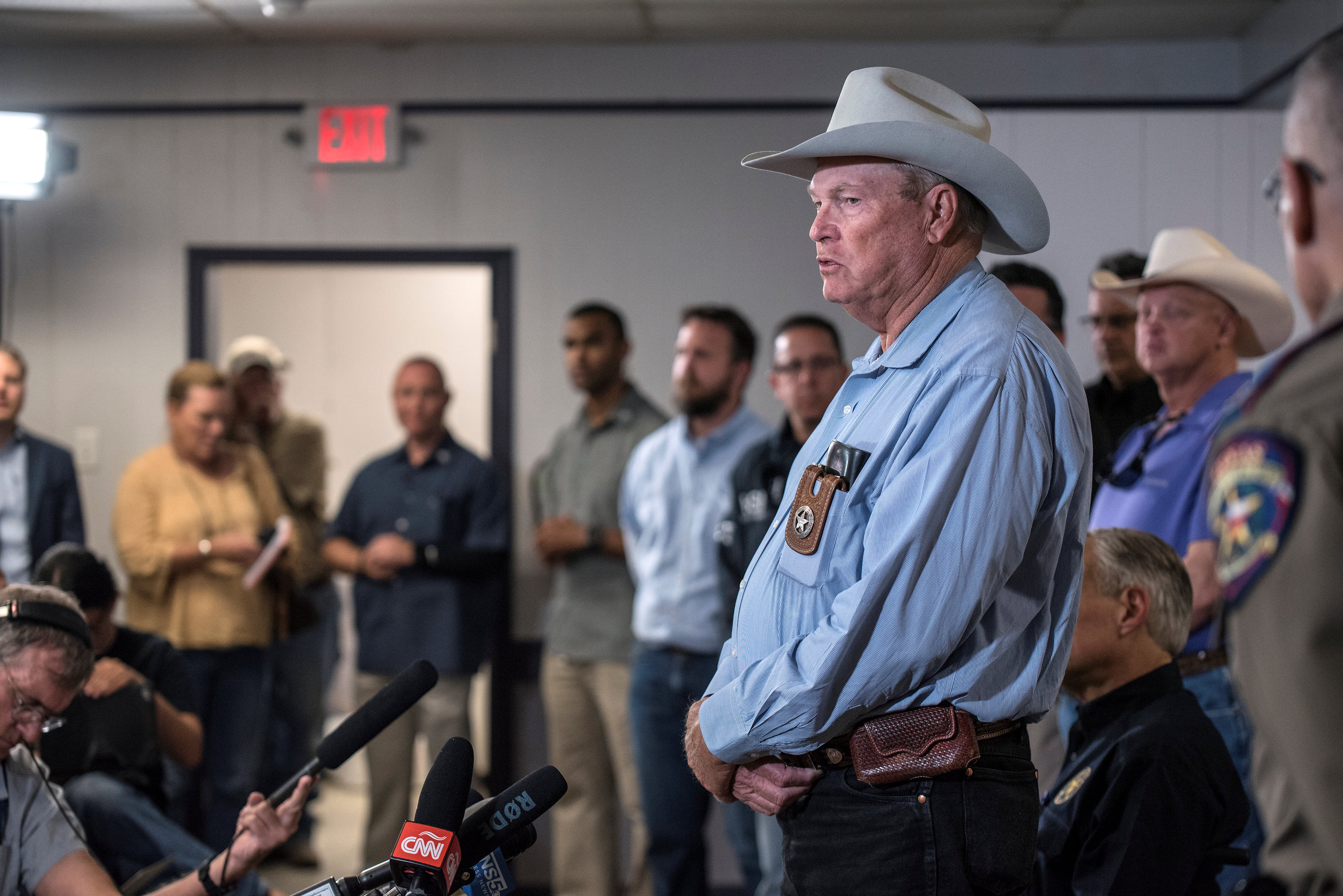 Wilson County Sheriff Joe Tackett gives an update during a news conference at the Stockdale Community Center following a shooting at the First Baptist Church in Sutherland Springs that left many dead and injured in Stockdale, Texas, U.S., November 5, 2017.