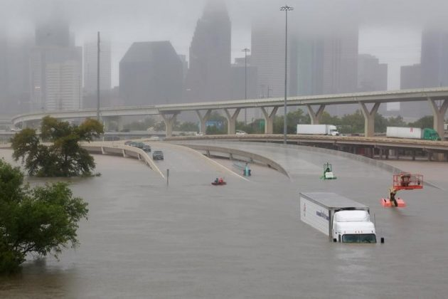 - Interstate highway 45 is submerged from the effects of Hurricane Harvey seen during widespread flooding in Houston, Texas, U.S. August 27, 2017.