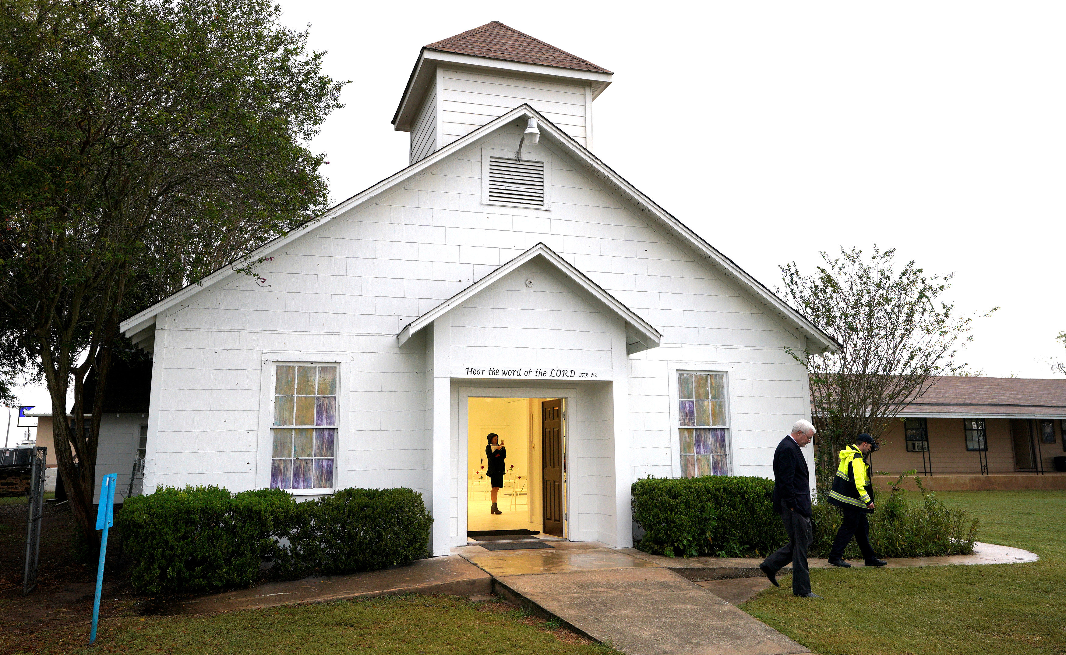 A member of the media walks inside the First Baptist Church of Sutherland Springs where 26 people were killed one week ago, as the church opens to the public as a memorial to those killed, in Sutherland Springs, Texas, U.S. November 12, 2017.