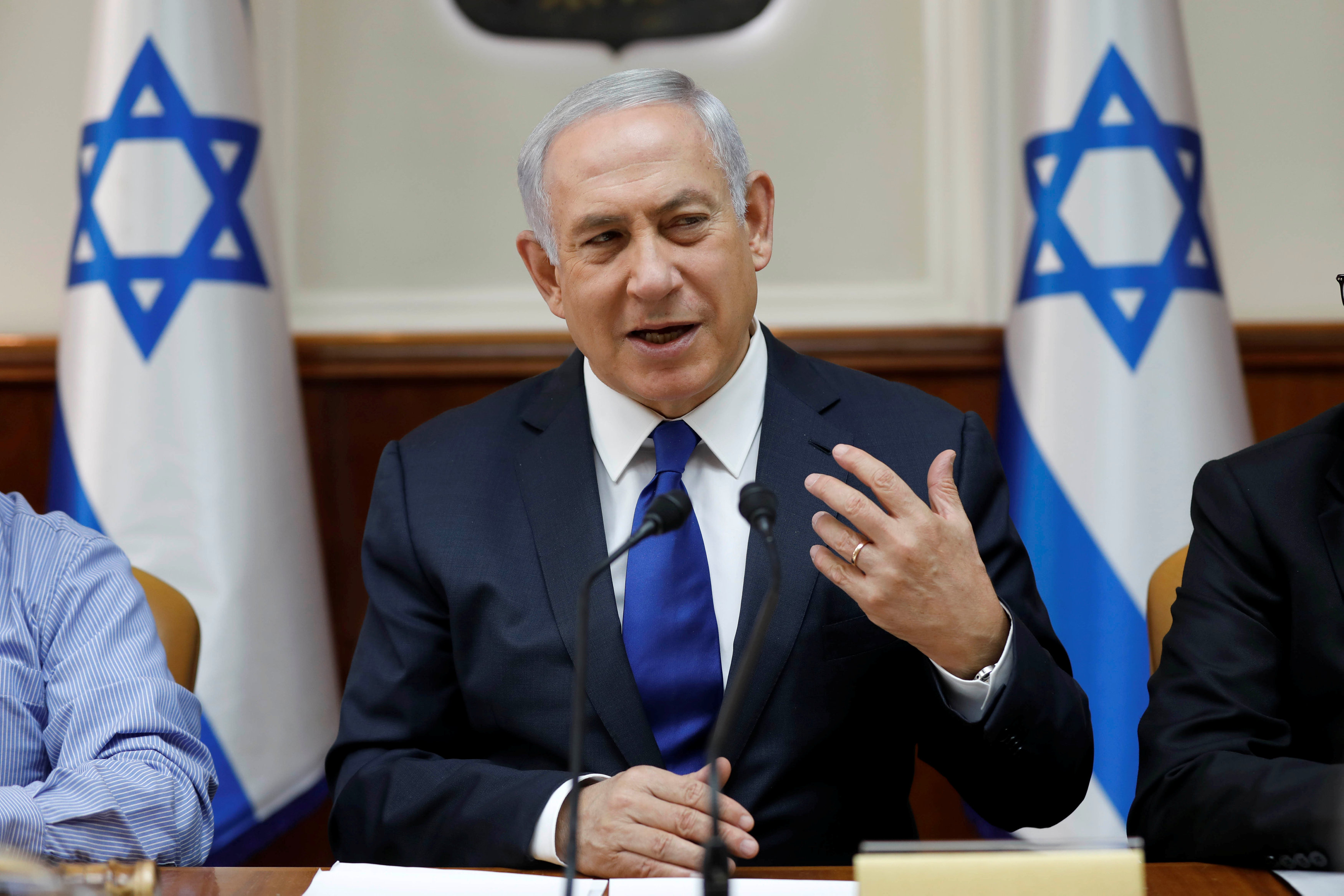 Israeli Prime Minister Benjamin Netanyahu attends the weekly cabinet meeting at his office in Jerusalem November 12, 2017.