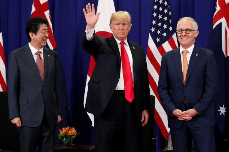 U.S. President Donald Trump holds a trilateral meeting with Japan's Prime Minister Shinzo Abe and Australia's Prime Minister Malcolm Turnbull alongside the ASEAN Summit in Manila, Philippines November 13, 2017.