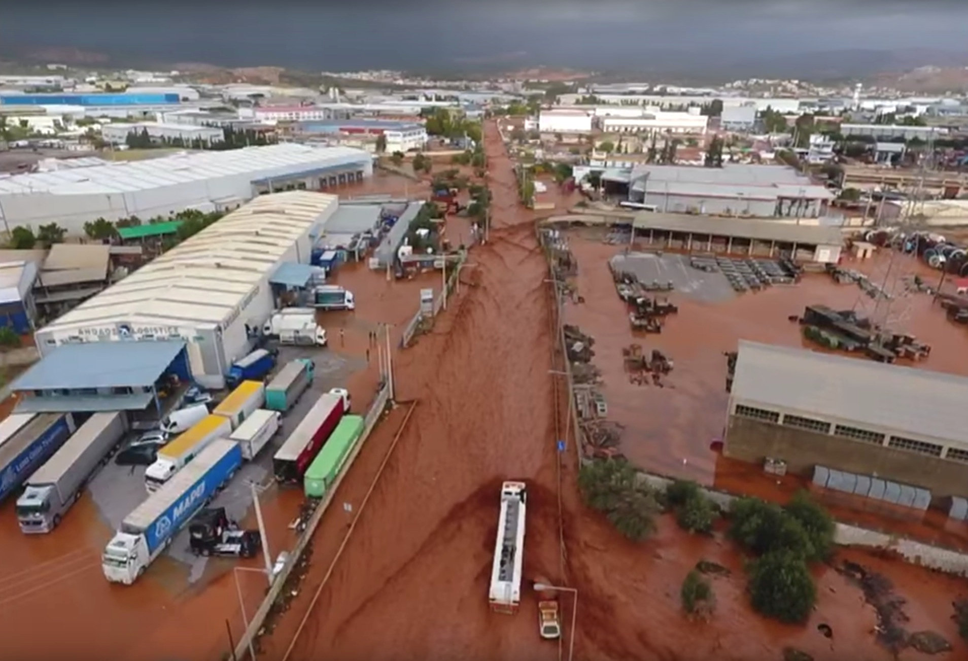 General aerial view of a flooded area following flash floods in Mandra, West Attica, Greece November 15, 2017 in this still image taken from social media video.     NATIONAL AND KAPODISTRIAN UNIVERSITY OF ATHENS/via REUTERS