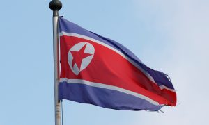 A flag is pictured outside the Permanent Mission of North Korea in Geneva, Switzerland, November 17, 2017.