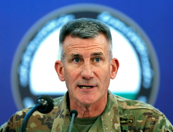 U.S. Army General John Nicholson, Commander of Resolute Support forces and U.S. forces in Afghanistan, speaks during a news conference in Kabul, Afghanistan November 20, 2017.
