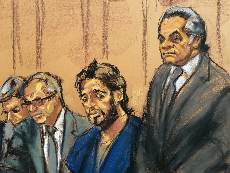 Turkish gold trader Reza Zarrab (2nd R) sits with lawyers Erich Ferrari (L), Marc Agnifilo, and Benjamin Brafman (R) as he appears in Manhattan federal court in New York, U.S., April 24, 2017.