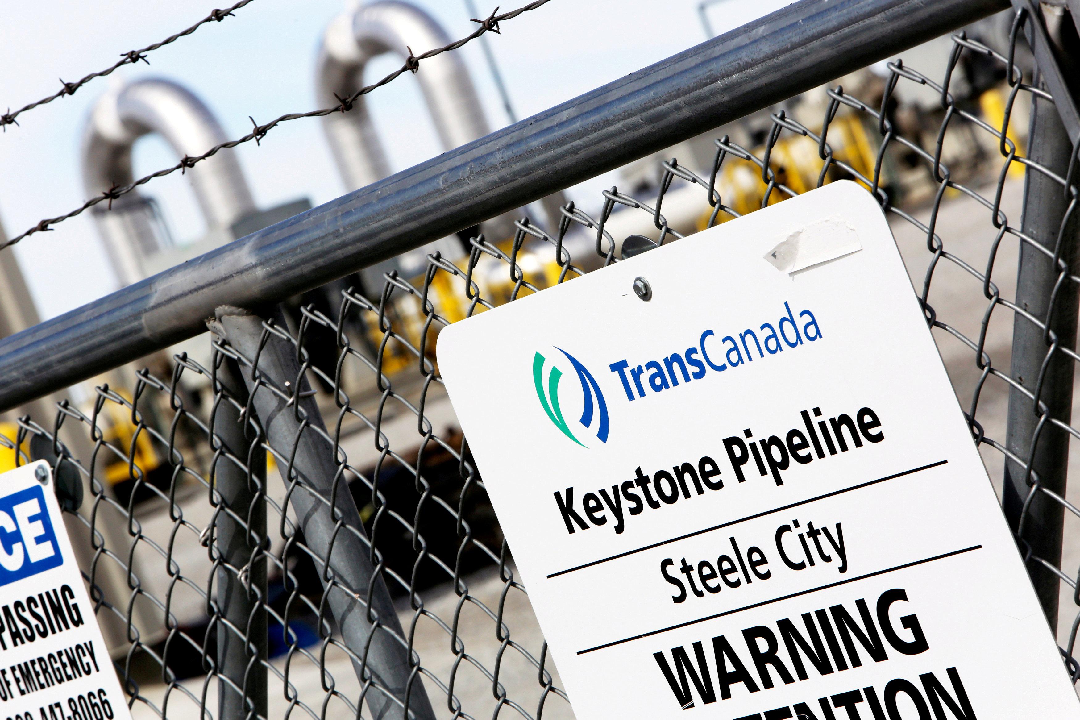 A TransCanada Keystone Pipeline pump station operates outside Steele City, Nebraska March 10, 2014.