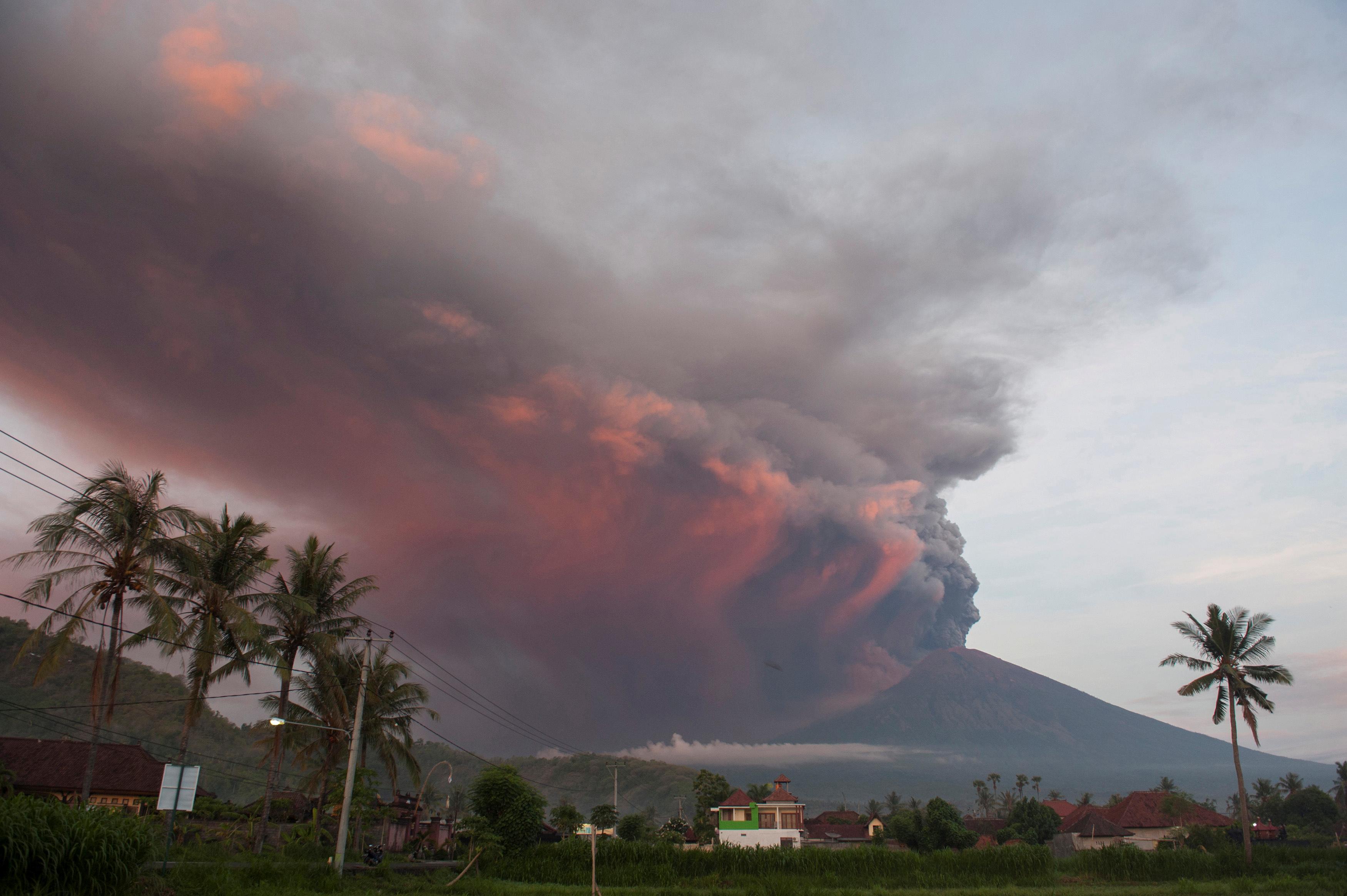 Mount Agung volcano erupts as seen from Culik Village, Karangasem, Bali,