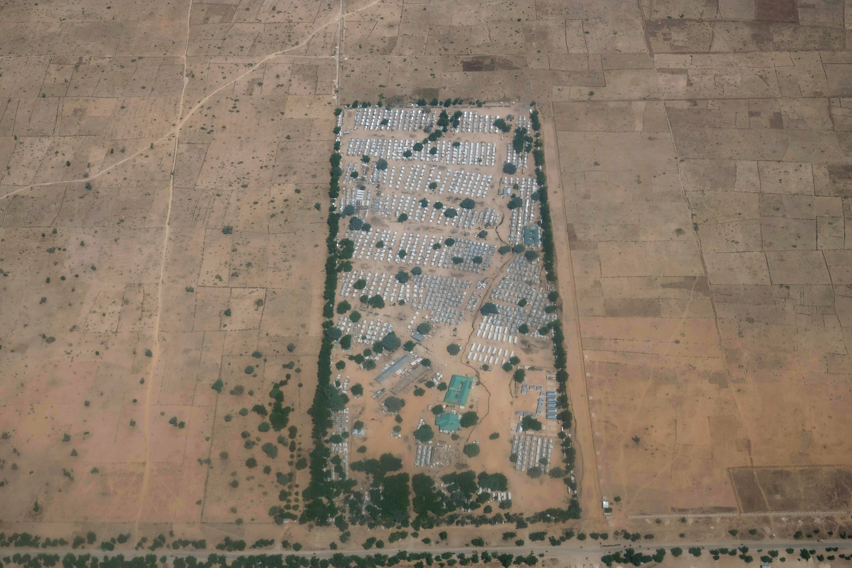 An aerial view of the Federal Training Centre camp on the road between Maiduguri and the town of Bama in northeast Nigeria, November 23, 2017. Picture taken November 23, 2017. REUTERS/Paul Carsten