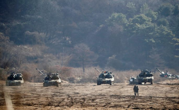 The South Korean army's K-55 self-propelled artillery vehicles take part in a military exercise near the demilitarised zone separating the two Koreas in Paju, South Korea, November 29, 2017.