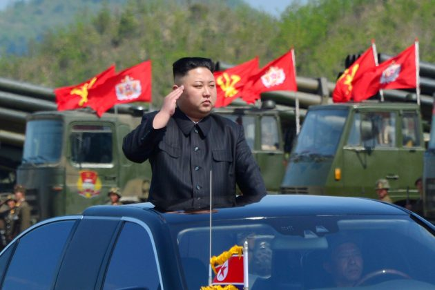 North Korea's leader Kim Jong Un inspects artillery launchers ahead of a military drill marking the 85th anniversary of the establishment of the Korean People's Army