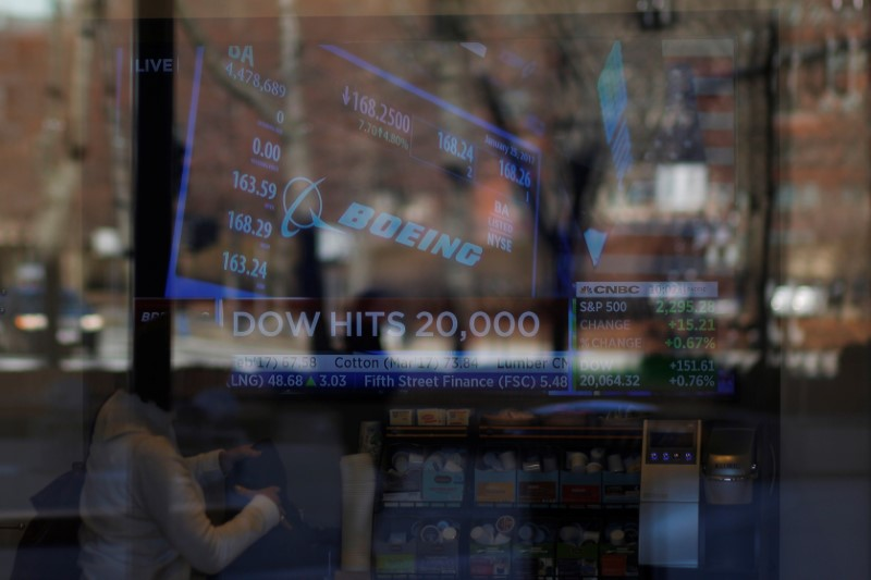 News of the Dow Jones Industrial average passing 20,000 and Boeing's stock price play on television at a Fidelity Investments office in Cambridge, Massachusetts, U.S., January 25, 2017. REUTERS/Brian Snyder