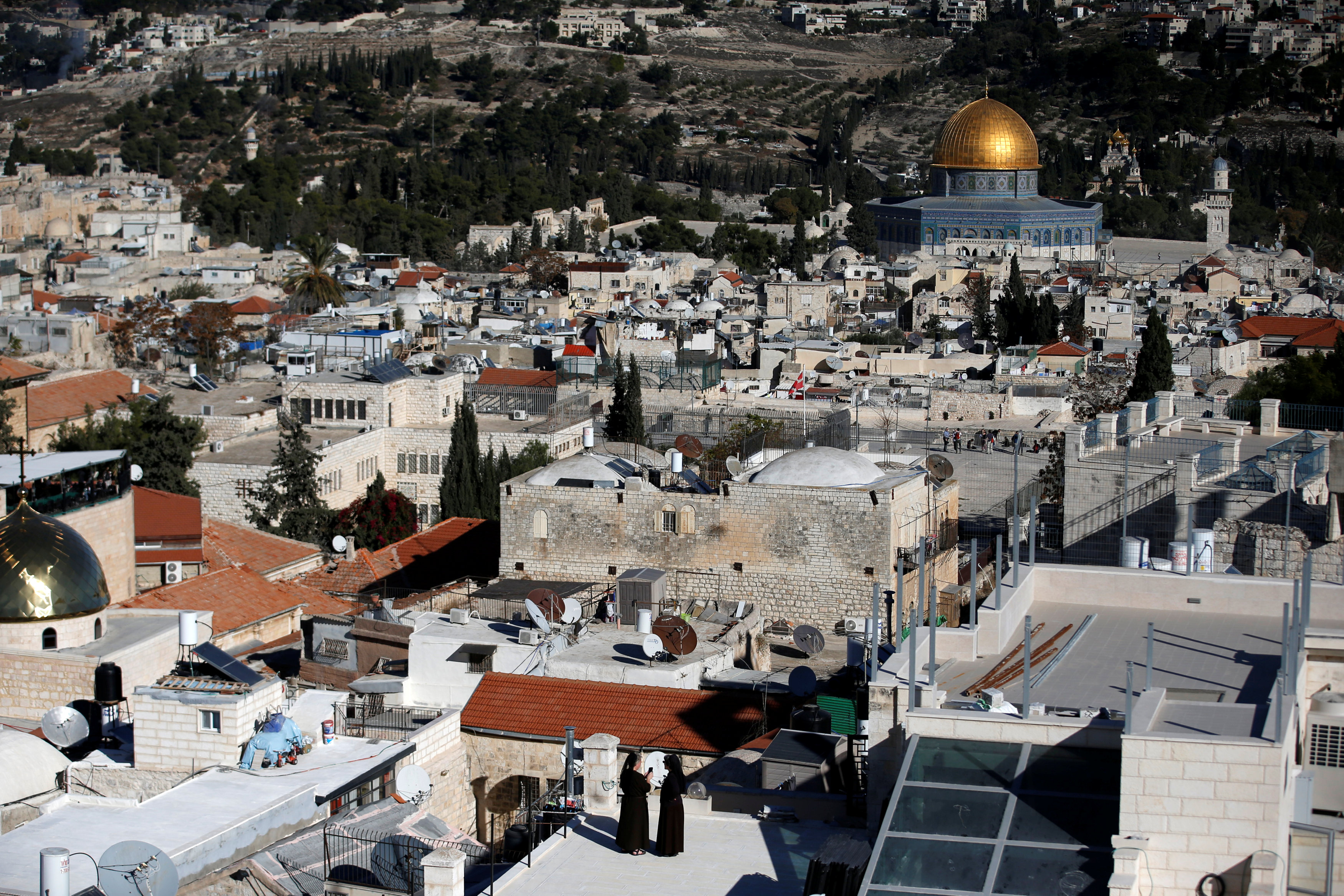 A general view shows the Dome of the Rock and Jerusalem's Old City from David Tower December 4, 2017.