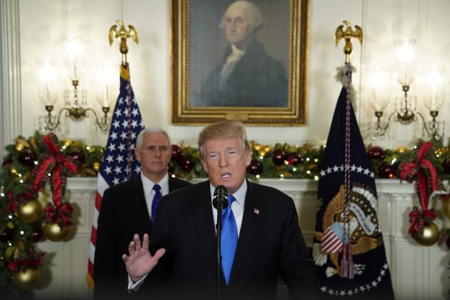 U.S. President Donald Trump gives a statement on Jerusalem, during which he recognized Jerusalem as the capital of Israel, as he appears with Vice President Mike Pence in the Diplomatic Reception Room of the White House in Washington, U.S., December 6, 2017.