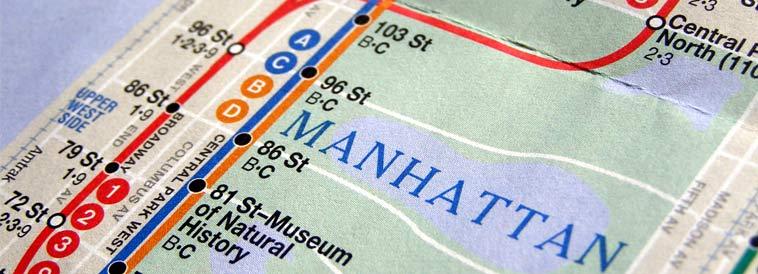 Subway Map Header Manhattan, NY
