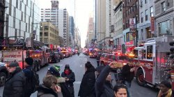 Police and fire crews block off the streets near the New York Port Authority in New York City, U.S. December 11, 2017 after reports of an explosion.