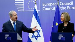 Israel's Prime Minister Benjamin Netanyahu and European Union foreign policy chief Federica Mogherini brief the media at the European Council in Brussels, Belgium December 11, 2017.