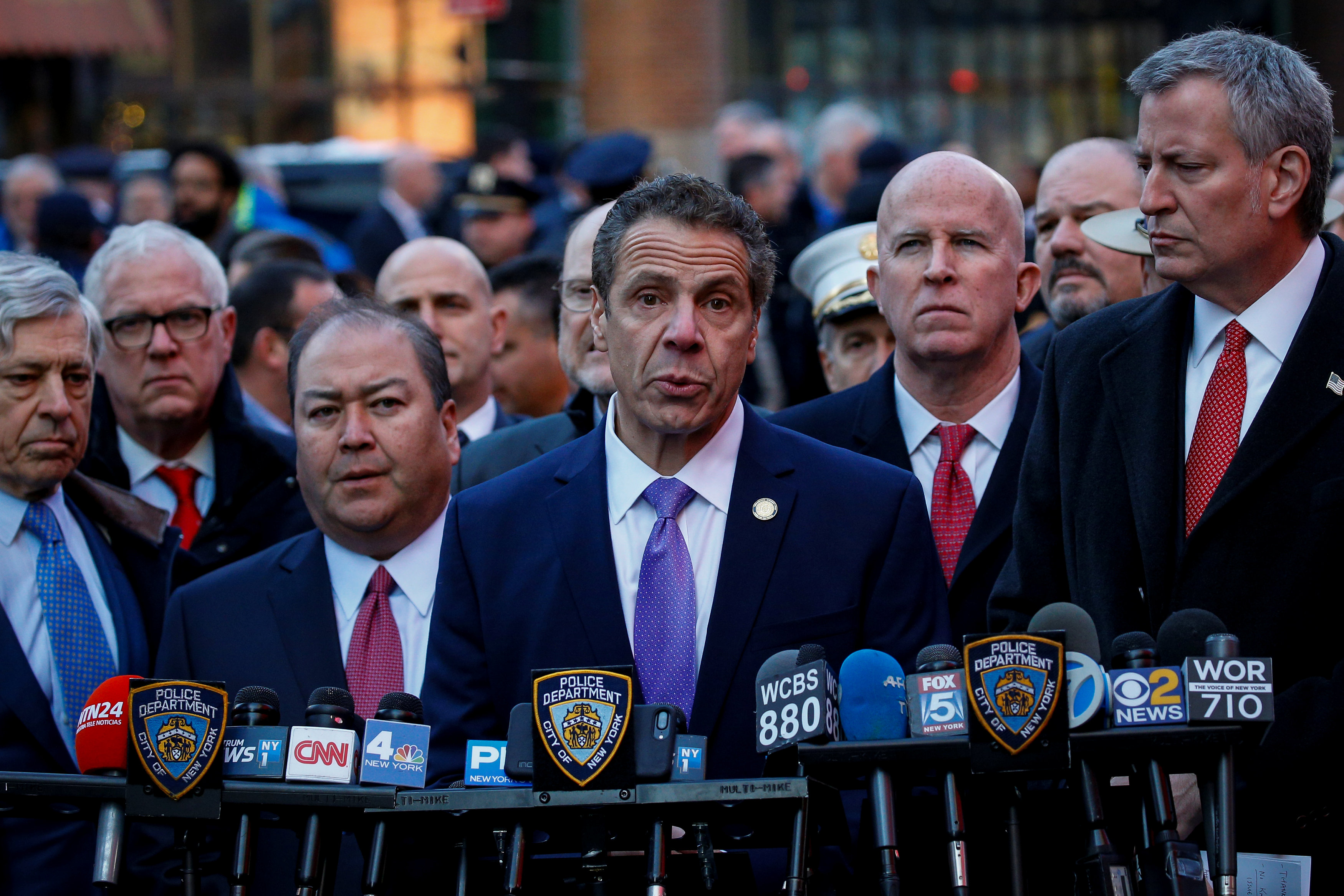 New York State Governor Andrew Cuomo speaks during a news conference outside the New York Port Authority Bus Terminal following reports of an explosion, in New York City, U.S. December 11, 2017.