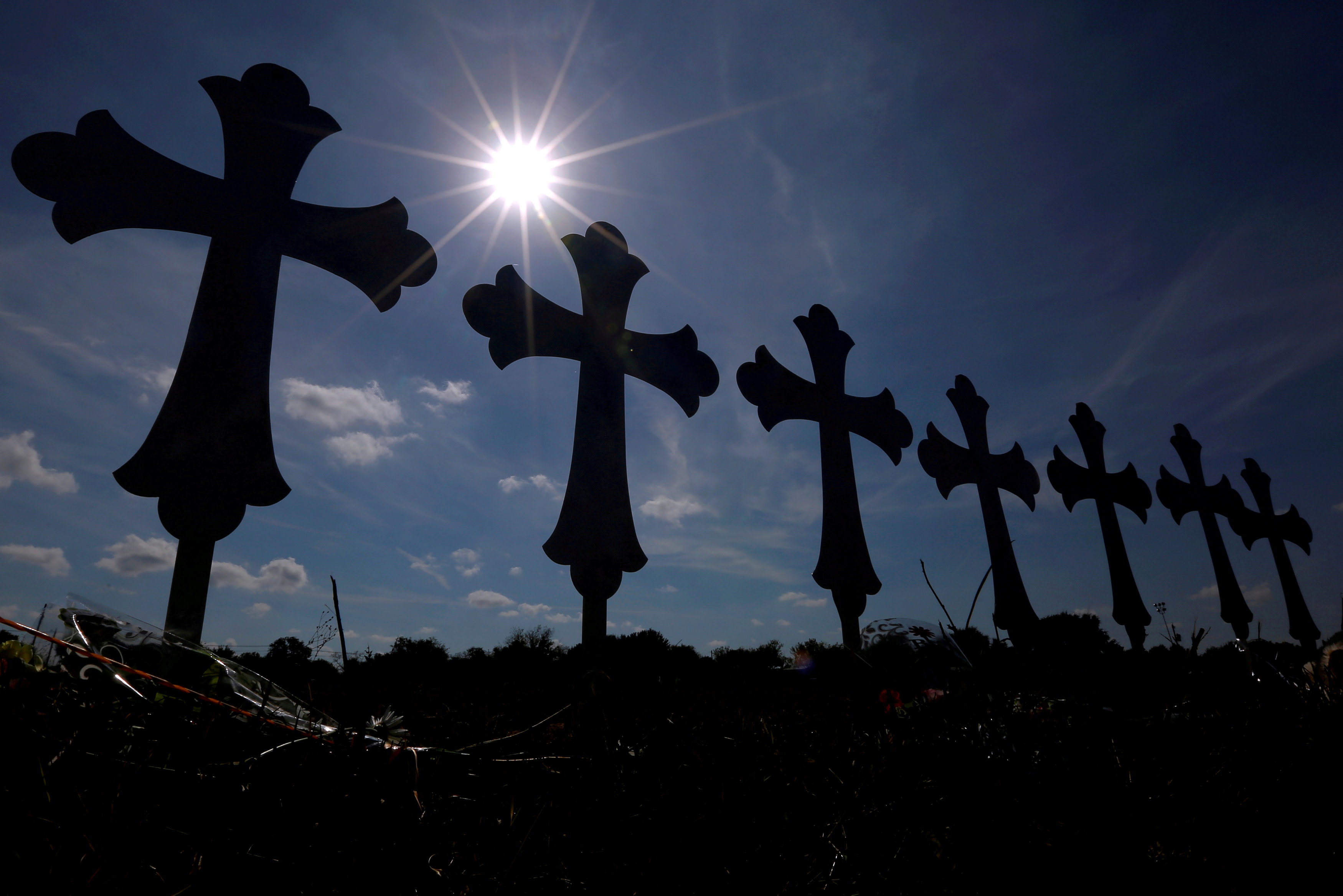 Crosses are seen placed at a memorial in memory of the victims killed in the shooting at the First Baptist Church of Sutherland Springs, Texas, U.S., November 7, 2017. REUTERS/Jonathan