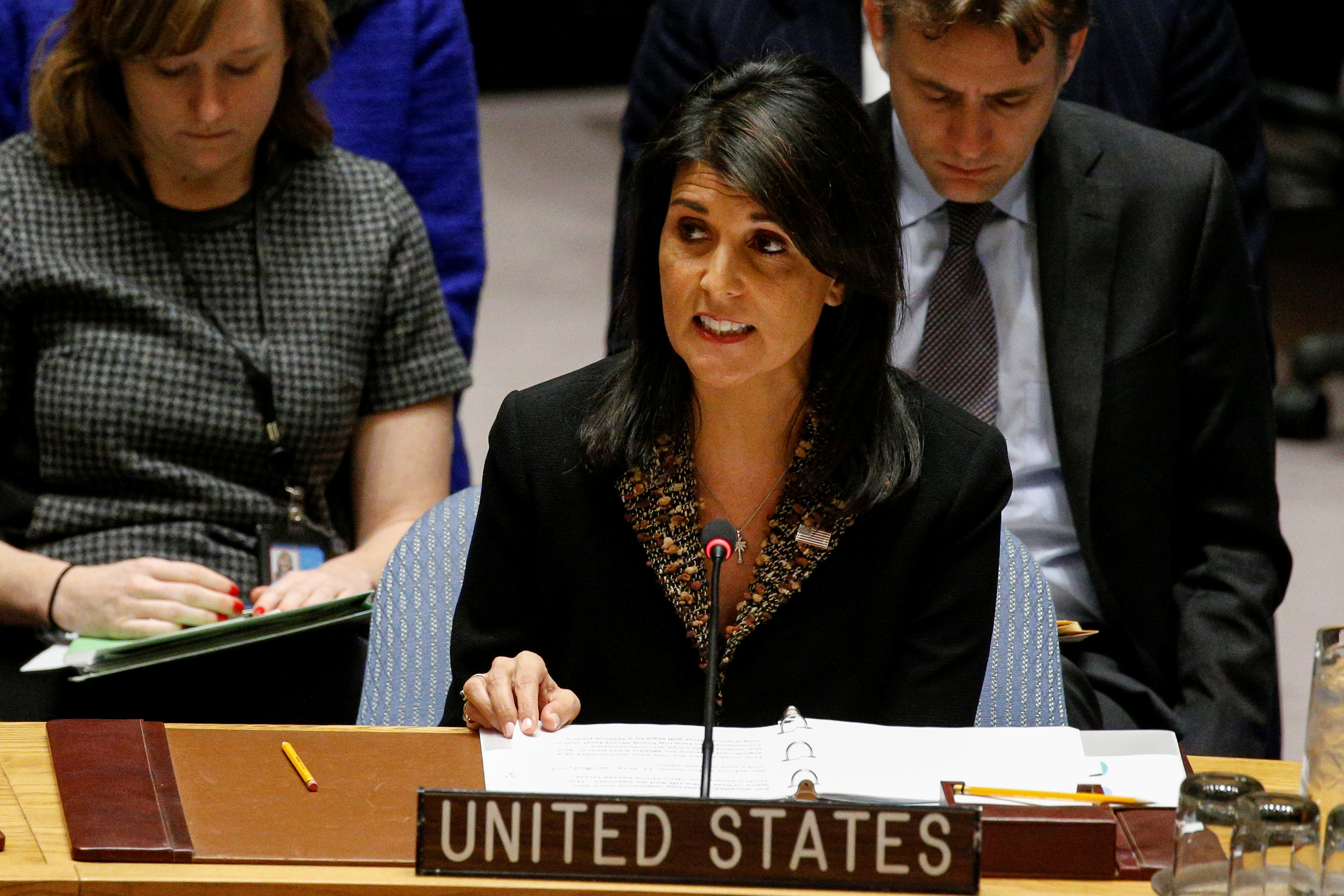 U.S. Ambassador to the United Nations Nikki Haley speaks during the United Nations Security Council meeting on the situation in the Middle East, including Palestine, at U.N. Headquarters in New York City, New York, U.S., December 18, 2017.