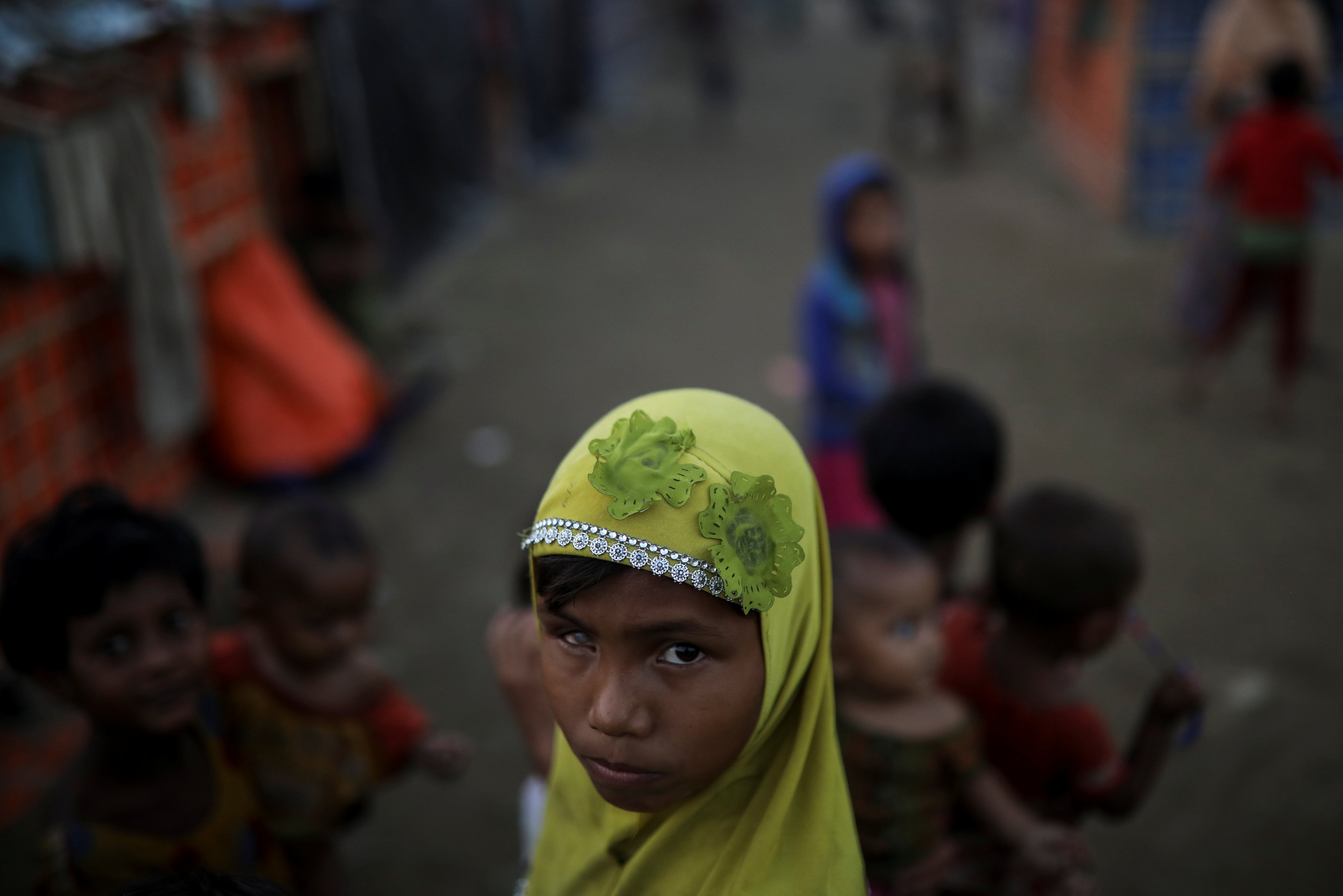 Rohingya refugee children play at the Shamlapur refugee camp near Cox's Bazar, Bangladesh December 20, 2017. REUTERS/Marko Djurica