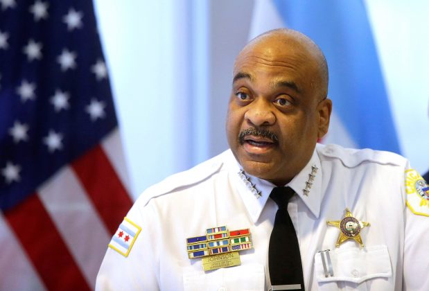 Chicago Police Superintendent Eddie Johnson speaks about the latest police districts to start wearing body cameras, during a news conference at the 20th District Chicago Police Department in Chicago, Illinois, U.S. October 30, 2017.
