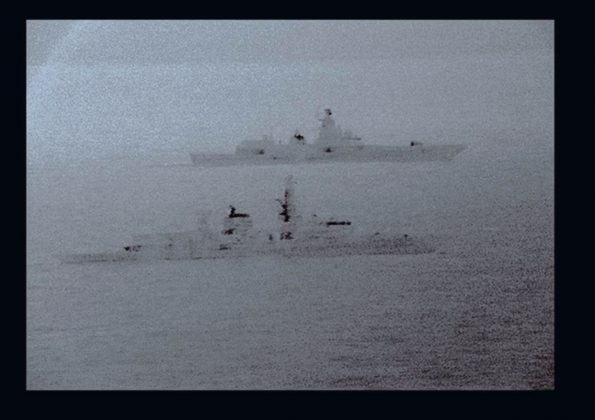 Images from an infrared camera on a helicopter show Royal Navy frigate HMS St Albans escorting Russian warship Admiral Gorshkov as it passes close to UK territorial waters through the North Sea in an image from an infrared camera on a helicopter handed out by Britain's Royal Navy December 25, 2017.