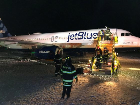 A JetBlue plane is seen at the Boston's Logan International Airport in Boston, Massachusetts, U.S., December 25, 2017 in this picture obtained from social media. Picture taken December 25, 2017.