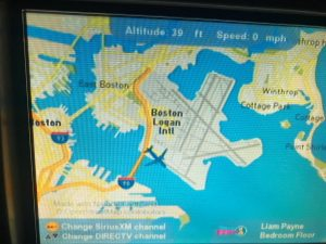 A JetBlue plane is seen on the in-flight map on the plane, at the Boston's Logan International Airport in Boston, Massachusetts, U.S., December 25, 2017 in this picture obtained from social media.