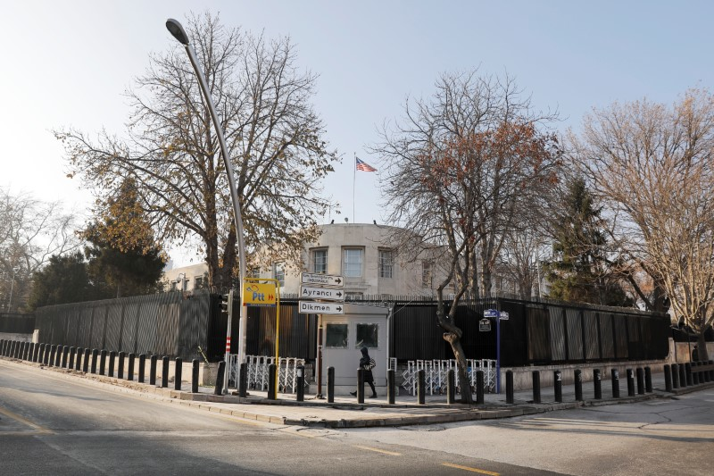 General view of the U.S. Embassy in Ankara, Turkey, December 20, 2016