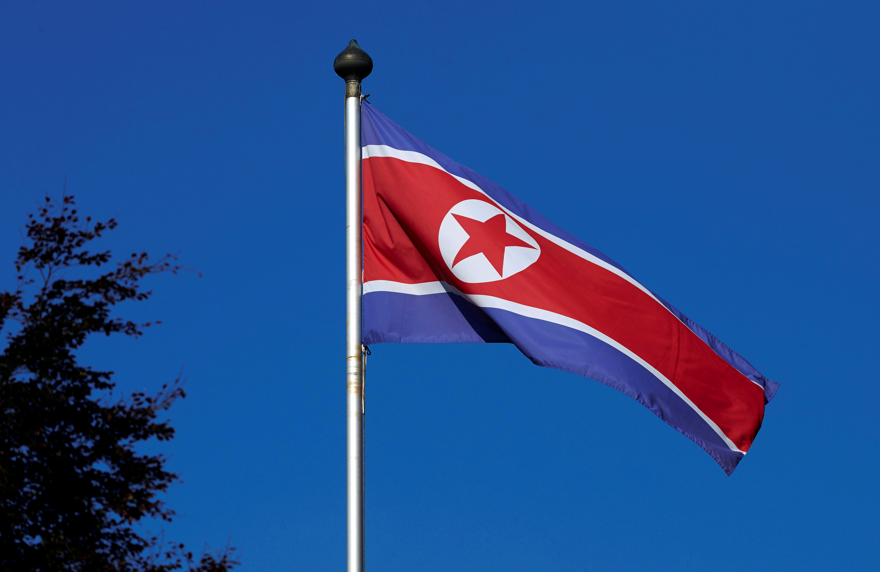 A North Korean flag flies on a mast at the Permanent Mission of North Korea in Geneva October 2, 2014.