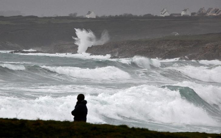 Waves break on the Brittany coast as storm Eleanor approaches Esquibien, France, January 2, 2018.