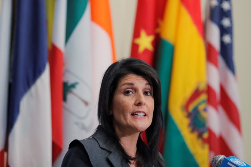 U.S. Ambassador to the United Nations Nikki Haley speaks at UN headquarters in New York, U.S., January 2, 2018