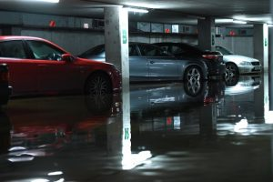 Cars are seen in a flooded multi-storey car park as flood waters reached up to 1.5 meters and destroyed multiple cars, in Galway, Ireland January 3, 2018.