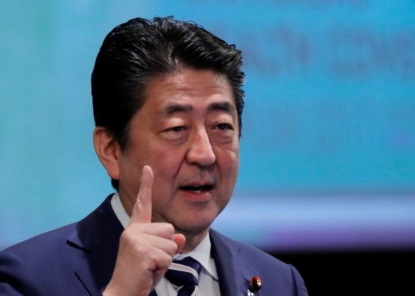 Japan's Prime Minister Shinzo Abe attends Universal Health Coverage Forum 2017 in Tokyo, Japan December 14, 2017.