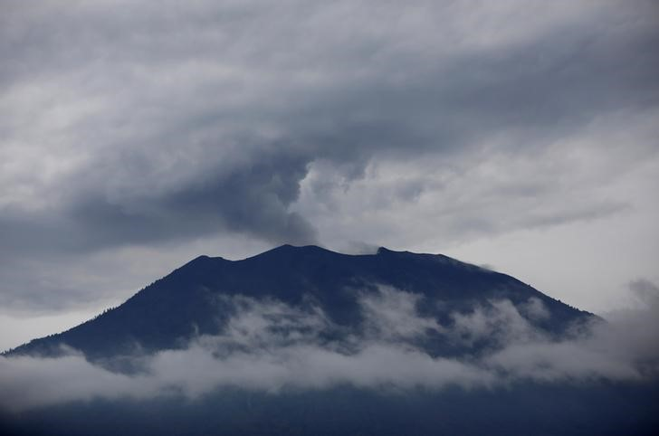 Mount Agung volcano erupts as seen from Kubu, Karangasem Regency, Bali, Indonesia, December 1, 2017.