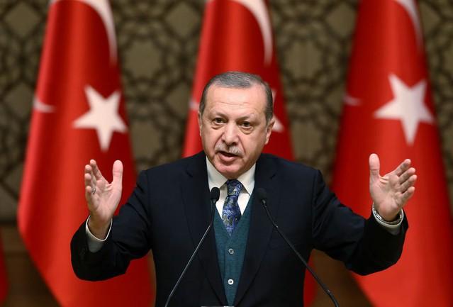 Turkish President Tayyip Erdogan speaks during a ceremony in Ankara, Turkey, December 21, 2017. Kayhan