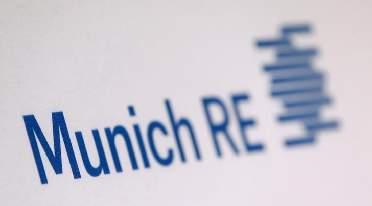 The company logo of German reinsurer Munich Re is seen before the company's annual news conference in Munich, Germany, March 16, 2016.