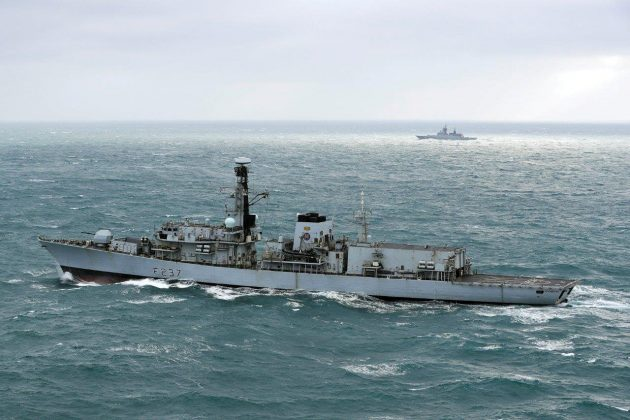 The Royal Navy's HMS Westminster escorts Russian Steregushchiy class ship Boiky (532) through the English Channel off Britain's coast, January 8, 2018. . LPhot Louise George Royal navy handout via REUTERS