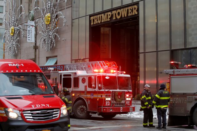 New York Fire Department crew respond after a fire broke out at Trump Tower in Manhattan, New York City, U.S. January 8, 2018.