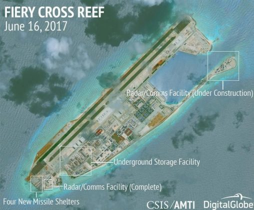 Construction is shown on Fiery Cross Reef, in the Spratly Islands, the disputed South China Sea in this June 16, 2017 satellite image released by CSIS Asia Maritime Transparency Initiative at the Center for Strategic and International Studies (CSIS) to Reuters on June 29, 2017.