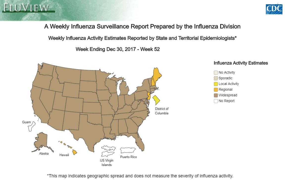 Weekly report of widespread flu cases throughout the US from the CDC
