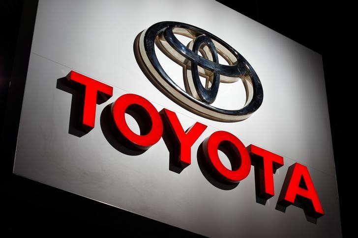 The Toyota logo is shown at the Los Angeles Auto Show in Los Angeles, California, U.S., November 30, 2017.