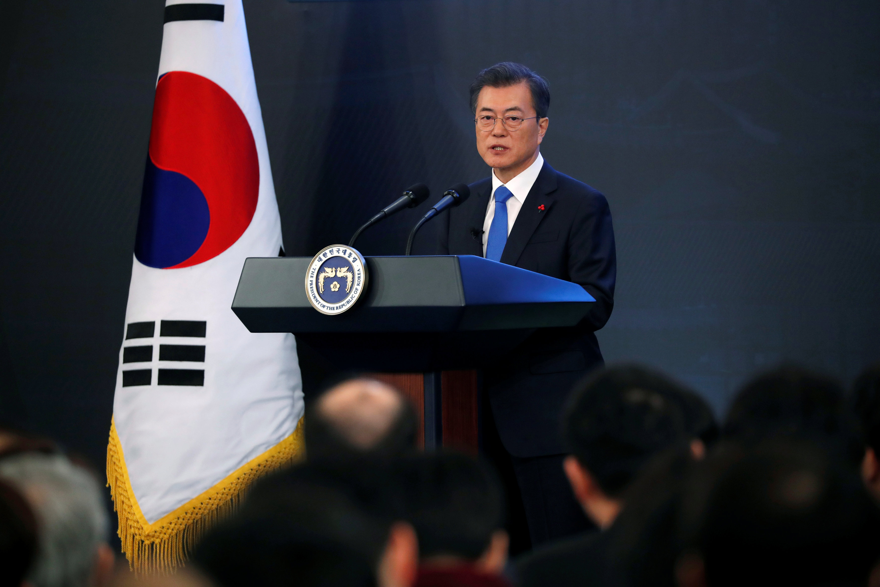 South Korean President Moon Jae-in delivers a speech during his New Year news conference at the Presidential Blue House in Seoul, South Korea, January 10,