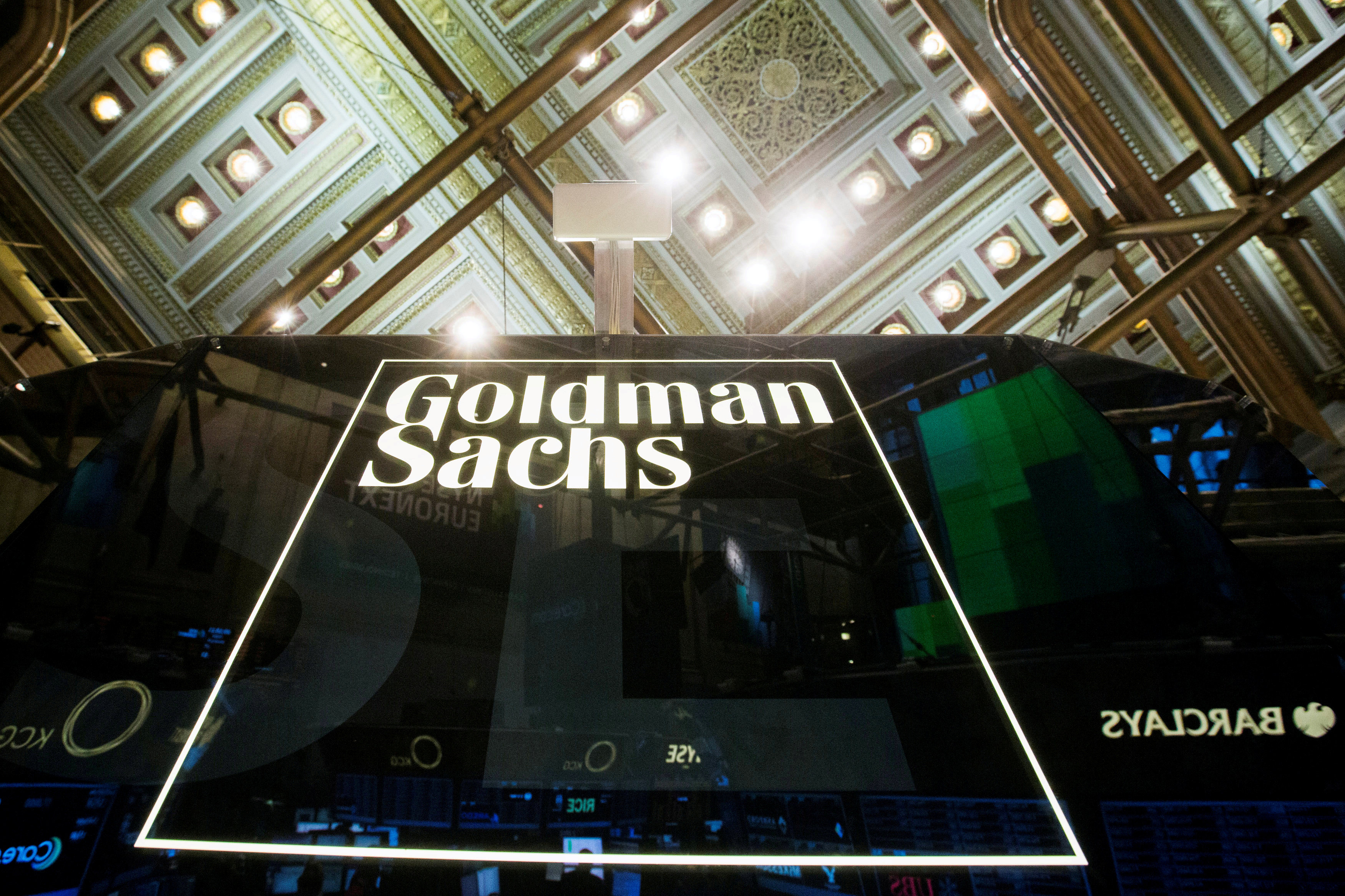 A Goldman Sachs sign is seen above the floor of the New York Stock Exchange shortly after the opening bell in the Manhattan borough of New York, U.S