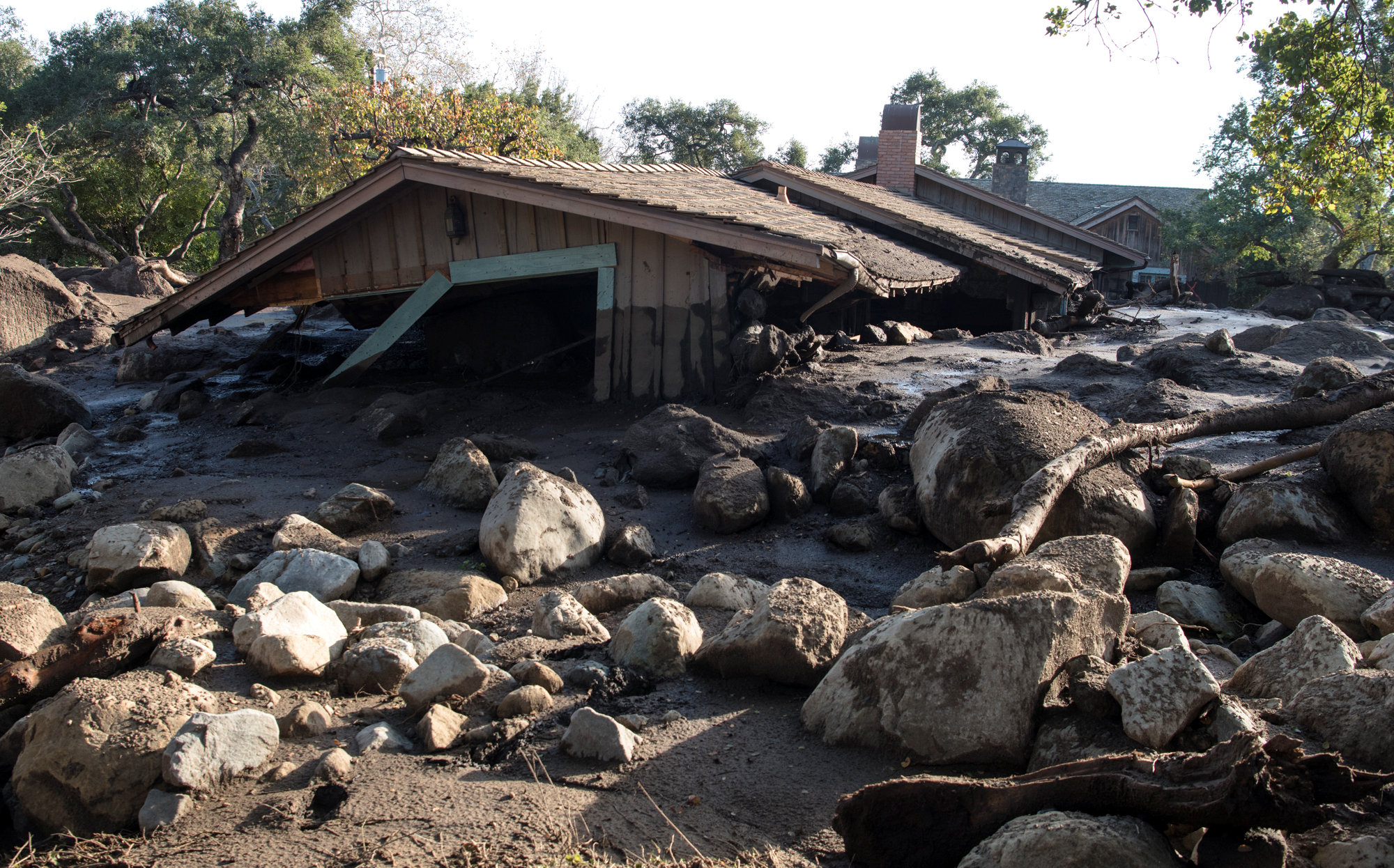 A home on Glen Oaks Road damaged by mudslides in Montecito, California, U.S., January 10, 2018.