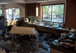 A kitchen in a home on Glen Oaks Road damaged by mudslides in Montecito, California, U.S., January 10, 2018.