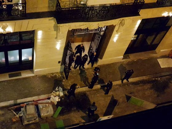A general view of the scene after axe-wielding robbers stole jewelry on Wednesday from a store in the famed Ritz Paris hotel in Paris, France, January 10, 2018 in this picture obtained from social media. Courtesy of Davy Parker/via REUTERS