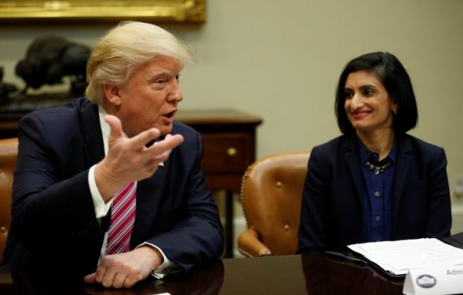 U.S. President Donald Trump attends the Women in Healthcare panel hosted by Seema Verma (R), Administrator of the Centers for Medicare and Medicaid Services, at the White House in Washington, U.S., March 22, 2017.