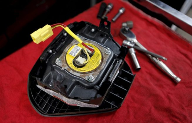 A recalled Takata airbag inflator is shown in Miami, Florida in this June 25, 2015 file photo.