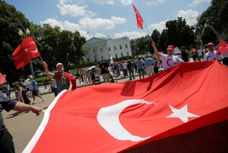 Turkish demonstrators rally against the coup attempt in Turkey at the White House in Washington, U.S., July 17, 2016.
